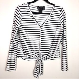 Polly & Esther Black and White Stripped Top